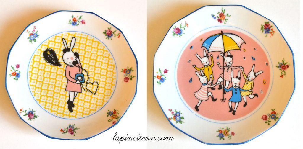 assiette vintage réémaillée lapincitron