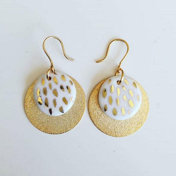 Boucle oreille céramique décor or gold