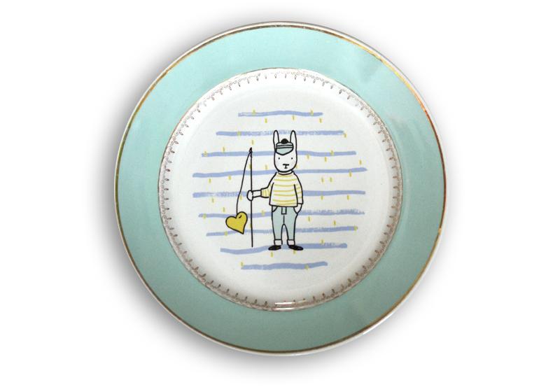 assiette vintage pêcheur